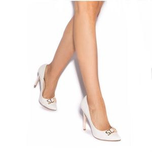 White Faux-Suede Pointed Toe Patent Pump Sz 8 NIB